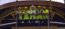 Paul Ferguson and team on completion of the stern 'Gingerbread' restoration at the Cutty Sark